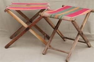 vintage folding wood stools, rustic camp furniture