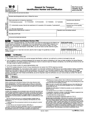 2013 form irs w 9 fill printable fillable blank
