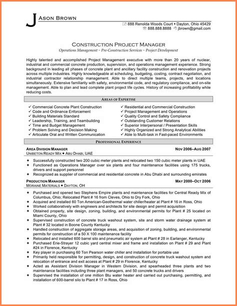 Construction Manager Resume by 10 Construction Project Management Agreement Template