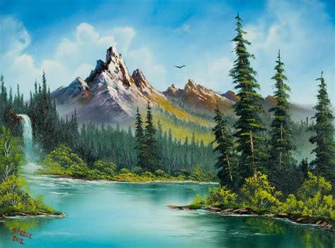 Bob Ross Wilderness Waterfall Oil Painting & Bob Ross