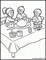 Coloring Table Dinner Pages Thanksgiving Eating Dining Bedroom Drawing Sketch Printable Sheets Feast Popular sketch template