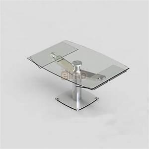 Table Repas Moderne Extensible Pied Acier Verre CLUB
