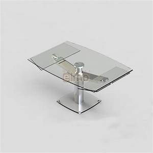 table repas moderne extensible pied acier verre club With table salle À manger verre extensible pour petite cuisine Équipée