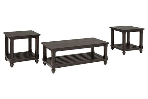 Includes coffee table and 2 end tables. Mallacar Table (Set of 3) by Ashley HomeStore, Black ...