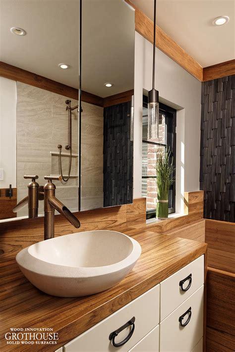 custom teak wood vanity top   bathroom  washington dc