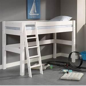 Lit En Hauteur Enfant : lit mi hauteur bois massif 90x200 classique chambre d ~ Melissatoandfro.com Idées de Décoration