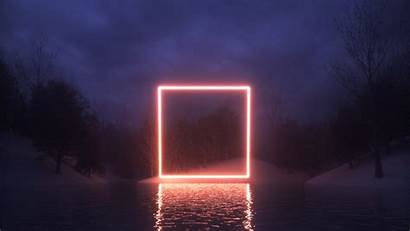 Neon Square Nature Reflection Night Cinema4d Wallpapers
