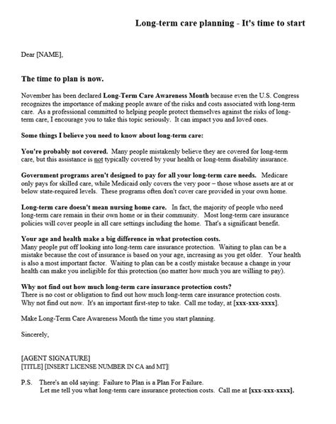 Sample Long Term Care Letters - Dataman Group Direct