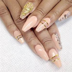 Light Pink & Gold Squoval Nails | Nails 2 | Pinterest ...
