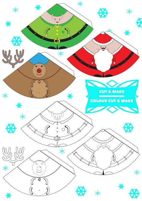 printable christmas cutouts and decorations free printable 3d characters finger puppets