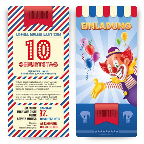 einladung zum kindergeburtstag zirkus ticket