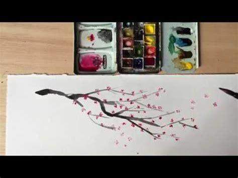 06 Dibujar una rama de cerezo en flor con acuarela YouTube