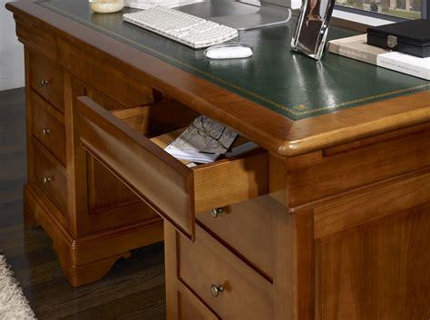 bureau de ministre ancien bureau ministre 9 tiroirs en merisier massif de style