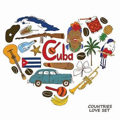 Cuba Cuban Symbols Clipart Shape Heart Background
