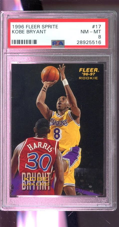 The base version is expensive in its own right but its the refractor parallel whose prices are off. 1996-97 Fleer Sprite #17 Kobe Bryant ROOKIE RC NBA PSA 8 Graded Basketball Card