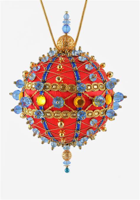 satin beaded christmas ornament kit crisscrossing around the