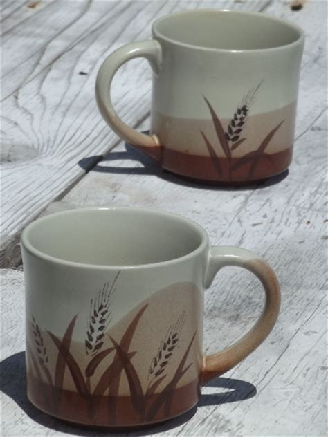 Free delivery and returns on ebay plus items for plus members. Vintage brown wheat stoneware coffee mugs, retro 70s 80s ...