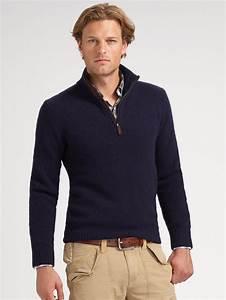 Polo ralph lauren Halfzip Merino Sweater in Blue for Men ...