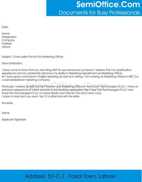cover letter  marketing officer job