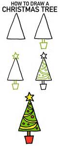 how to draw a christmas tree 4 cartoon tutorials