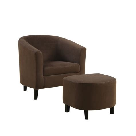 padded micro fiber barrel chair and ottoman in brown i 8056