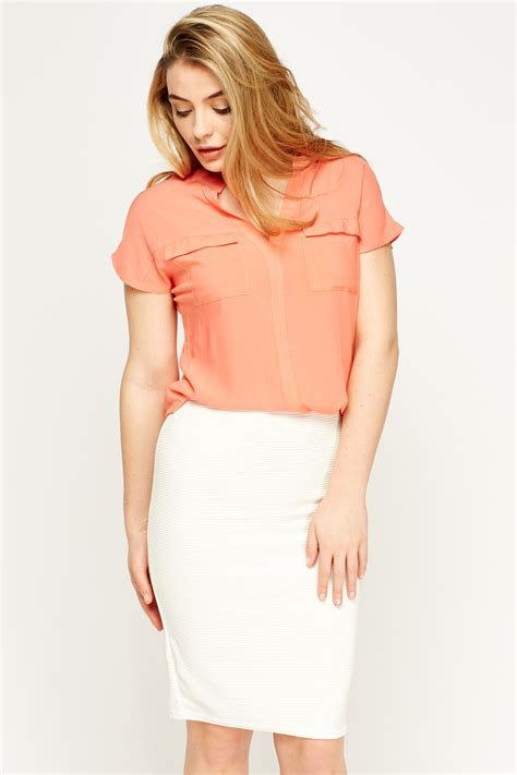 coral blouses and tops coral dip hem blouse just 5