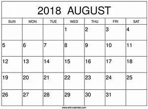 Calender August August 2018 Calendar Printable