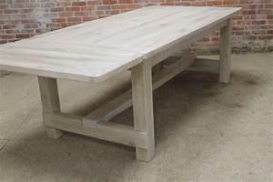 White Washed Farm Table with Custom Trestle - ECustomFinishes