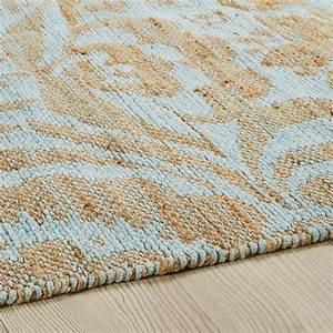 Tapis En Coton : tapis en jute et coton vert d 39 eau 140x200cm lukila ~ Nature-et-papiers.com Idées de Décoration