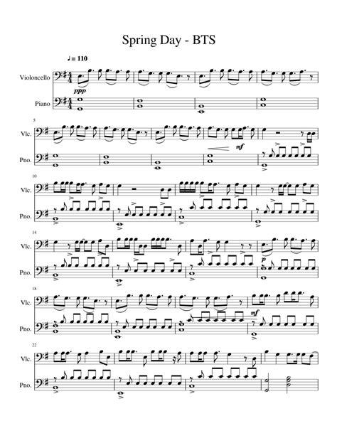 bts spring day  cello sheet   piano cello