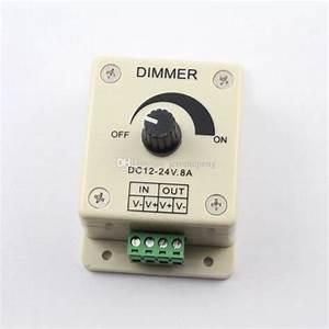 12v 24v Dc 8a 96w Single Color Knob Led Dimmer Controller
