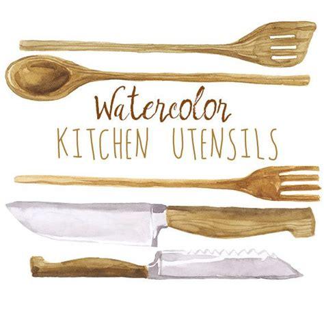cooking utensils clipart watercolor kitchen utensils clip wooden cookware
