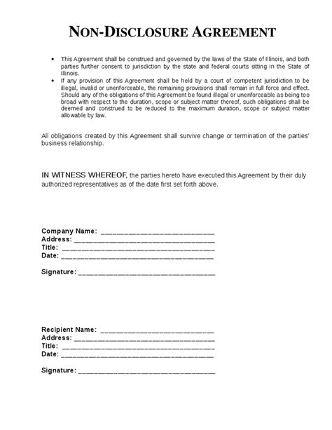 Free Non Disclosure Agreement Template by Top 5 Free Non Disclosure Agreement Templates Word