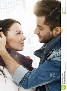 Romantic Couple Kissing In The City Stock Image