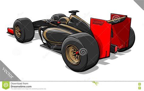 Back View Vector Fast Cartoon Formula Race Car