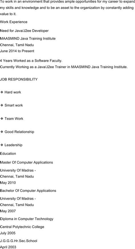 Exle Java Developer Resume by Java Developer Resume Template For Excel Pdf And Word