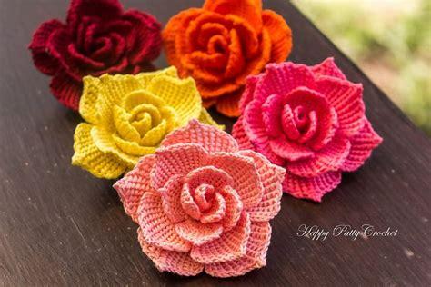 rose flower applique pattern  happy patty crochet