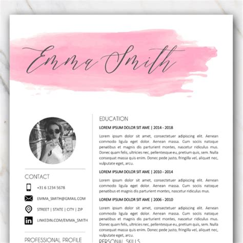 resume template  word  pink  grey colors