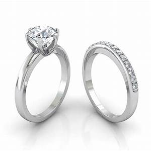Six prong solitaire engagement ring pave wedding band for Wedding ring settings
