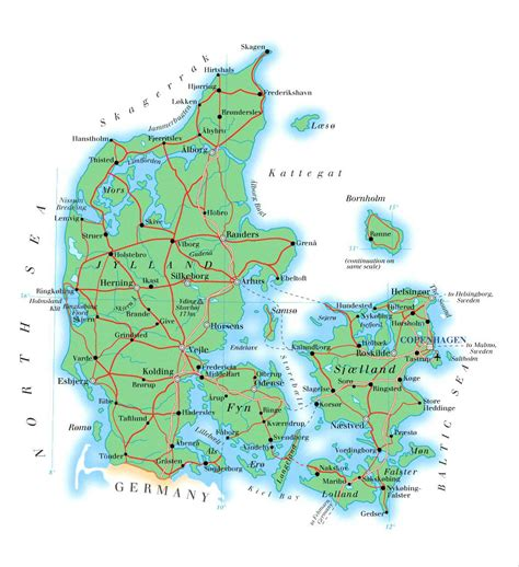detailed physical map  denmark  roads cities