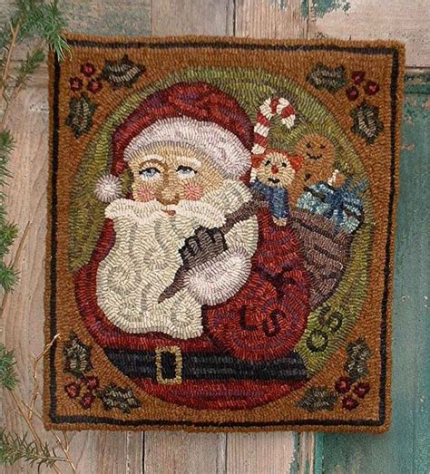 Folk Art Rug Hooking by The Country Cupboard Christmas Santa Primitive Folk Art