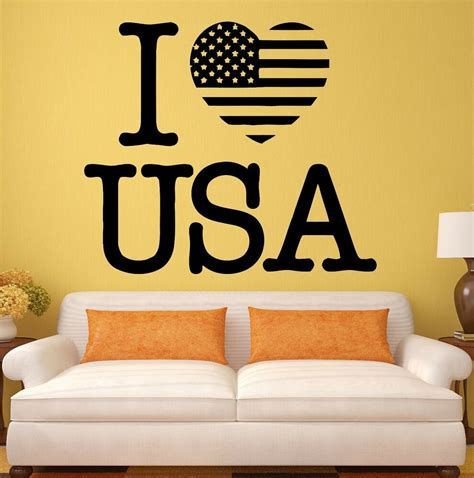 Room Decor Usa by Usa Wall Stickers Decal I United States Patriot Flag