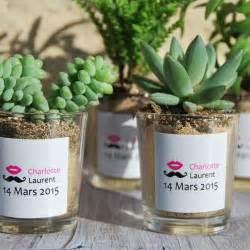 7 ans de mariage cadeau succulentes avec pot en verre personnalisé aux prénoms des mariés cadeau invités mariage