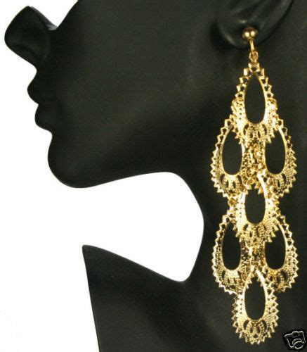Big Gold Chandelier Earrings clip on 5 quot gold plated big chandelier earrings ebay