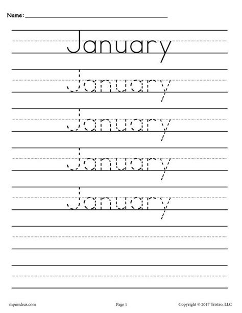 12 free months of the year handwriting worksheets