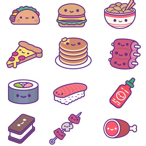 cuisine stickers kawaii food ios stickers 100