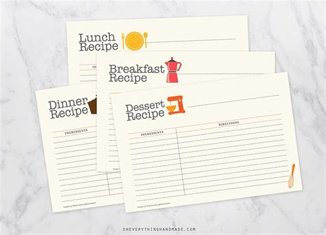 editable recipe card set card templates creative market