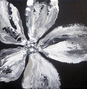 ORIGINAL abstract POPPY PAINTING-black and white gift by