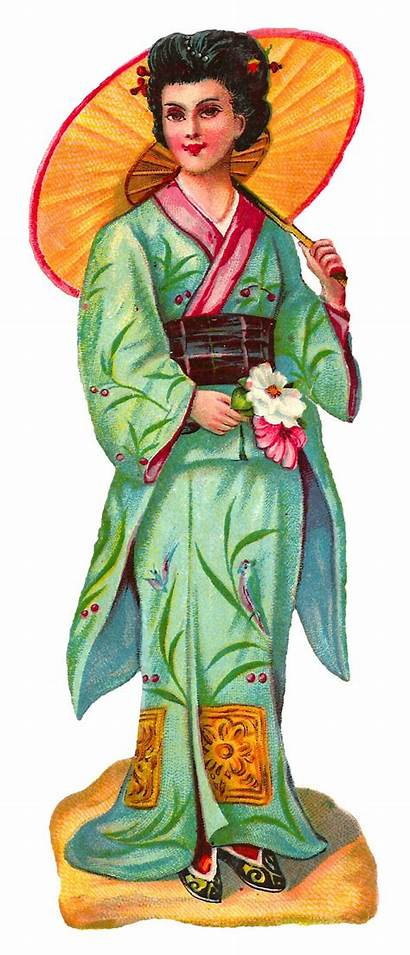Kimono Clip Royalty Japanese Victorian Clipart Woman