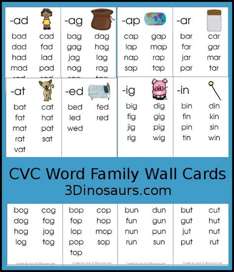 cvc word family wall cards cvc word families cvc